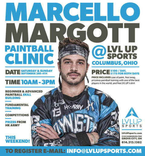 Dynasty's Marcello Margott Paintball Clinic Sept. 3rd & 4th in Columbus, Ohio